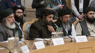Taliban co-founder Mullah Abdul Ghani Baradar, center, with other members of the Taliban delegation attend an international peace conference in Moscow, Russia in March.
