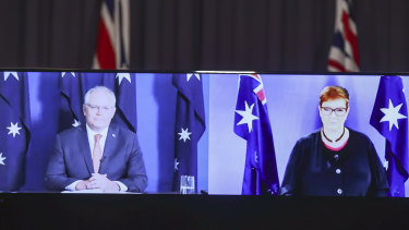 Prime Minister Scott Morrison and Minister for Foreign Affairs Marise Payne during a virtual press conference about Kylie Moore-Gilbert's release seen from the Blue Room at Parliament House.