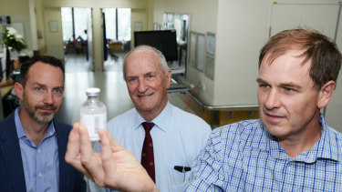 Professor Geoffrey Playford (right) withDr Peter Reid (centre) andProfessor Trent Munro (left) says the new human Hendra treatment has passed clinical trials with flying colours.