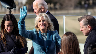 Dr Jill Biden waves after her husband Joe Biden is sworn in as 46th US President.
