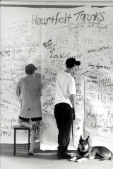 Students jot down last messages before the closure of Fitzroy Secondary College in 1992