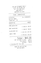 Receipt for lunch with Patricia Cornelius.