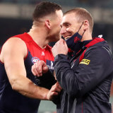 Melbourne coach Simon Goodwin was all smiles after the qualifying final win over the Lions.