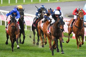 Jockey Ben Melham rides Homesman to victory the 2019 Feehan Stakes.