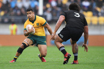 Hunter Paisami was sensational on debut for the Wallabies in Wellington.