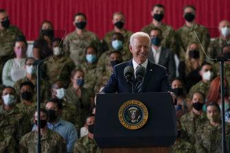 US President Joe Biden addresses US Air Force personnel at RAF Mildenhall in Suffolk.