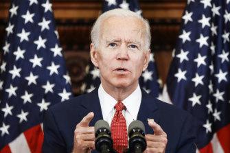 Democratic presidential candidate Joe Biden speaks in Philadelphia.
