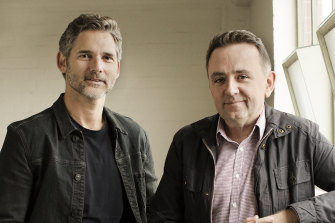 Eric Bana (left) and Robert Connolly, star and director respectively of <i>The Dry</i>, which was adapted from Harper's bestselling novel.