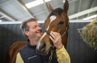 Segenhoe studmaster Peter O'Brien with Winx's half-sister Courchevel, who will be sold at the Inglis Chairman's Sale on Friday.