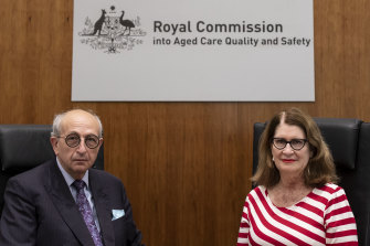 Royal commissioners Tony Pagone, QC, and Lynelle Briggs hearing final submissions from counsel on recommendations to reform Australia's aged-care system.
