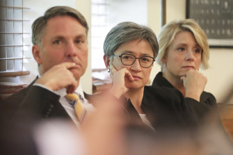 China challenge: Labor deputy leader Richard Marles, foreign affairs spokeswoman Penny Wong and deputy Senate leader Kristina Keneally.