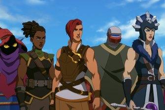 Orko (Griffin Newman), Andra (Tiffany Smith), Teela (Sarah Michelle Gellar), Roboto (Justin Long) and Evil-Lyn (Lena Headey).