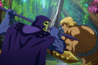 Skeletor (Mark Hamill) and He-Man (Chris Wood) battle in Masters of the Universe: Revelation.