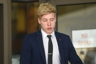 Samuel Bevan-Shannon leaves court on Thursday after pleading guilty to affray.
