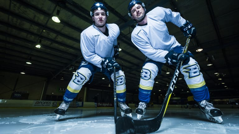 Jayden and Dave Lewis are the only father-son duo playing in the AIHL.