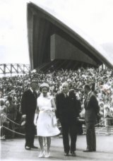 Queen Elizabeth opening Sydney Opera House, October 20, 1973.