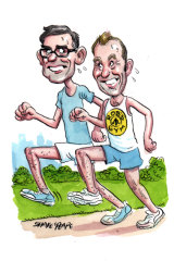 Dominic Perrottet's jog in the Domain with Rob Stokes raised a few eyebrows on Macquarie Street. Illustration: John Shakespeare