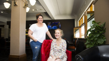 Interior design students Mel Riley and Bianca Lewis in a newly-renovated function room at Hotel Queanbeyan.