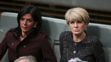 Julia Banks (left) and Julie Bishop during question time on Thursday.