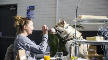 Maddison Landon with her dog Hunter.