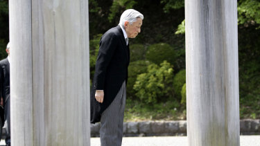 Japan's Emperor Akihito arrives at Musashino Imperial Mausoleum to visit the tomb of his late father Hirohito to report his retirement in Tokyo on Tuesday.