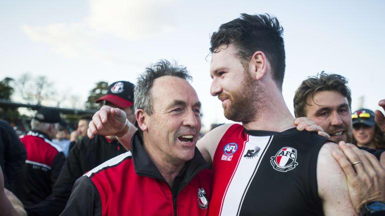 Cameron Bemasconi embraces coach Chris Rourke