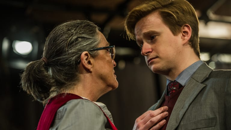 Karen Vickery, left, as Patricia Highsmith and Lachlan Ruffy as Edward Ridgeway in <i>Switzerland</i>.