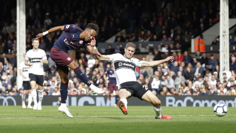 Pierre-Emerick Aubameyang fires home Arsenal's fifth goal against Fulham.