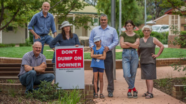 Downer residents Miles Boak, Steve Dyer,  Suzanne Pitson, Geoff and Kate Francis, Jessica Wade and Sue Dyer are concerned about a new ACT planning strategy which proposes to increase housing density in the suburb
