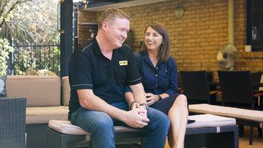 CEO of R U OK? Brendan Maher and partner Tanya Senior at home in Tuggeranong.