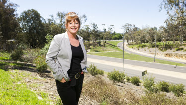 """ACT executive director for the Property Council of Australia Adina Cirson stands next to the State Circle, the """"compromise"""" route for light rail stage two."""