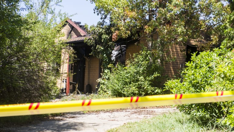 A house that was destroyed by fire in Byram Place, Florey, on Friday night.