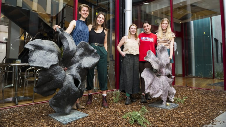 Australian National University students Stacey Korda, Correa Driscoll, Philippa Russell, Victoria Herbert and Ellen Hansen, who have helped the ACT Greens create an interactive map showing the locations of Canberra's shared resources.
