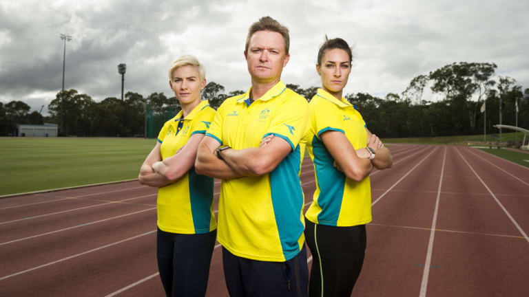 Melissa Breen, coach Matt Beckenham and Lauren Wells.