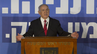Israeli Prime Minister Benjamin Netanyahu addresses the country after charges laid.