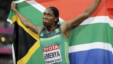 Semenya celebrates winning the gold at the  2017 World Athletics Championships.