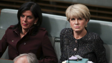 Julia Banks and Julie Bishop during Question Time on Thursday.