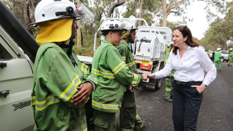 Premier Annastacia Palaszczuk visited North Stradbroke Island on Wednesday to thank firefighters for their efforts.