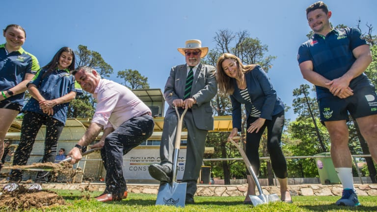 Centre from left with shovels: NSW deputy Premier John Barilaro, Raiders board member Allan Hawke and ACT deputy Chief Minister Yvette Berry turn the first sod at Northbournoe Oval, Braddon to signal the start of the construction of the new Canberra District Rugby League Centre of Excellence and Community Hub.