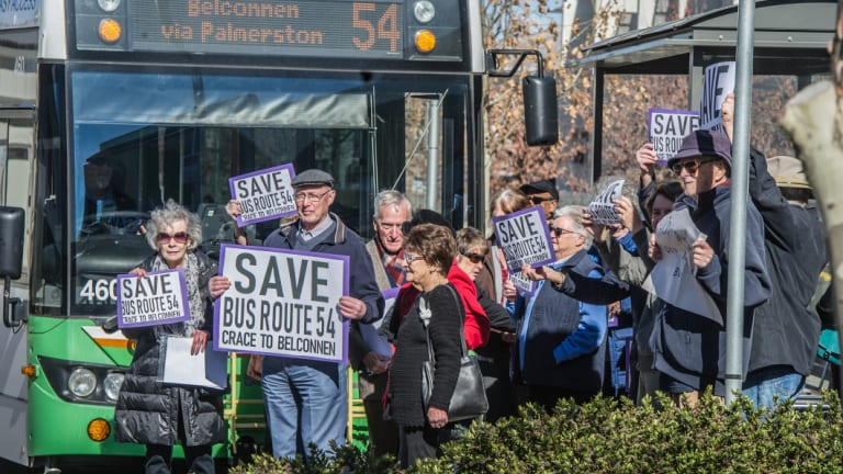 Residents of Goodwin Retirement Village, who stepped out in front of the 11.22am bus waving signs at a protest in July.