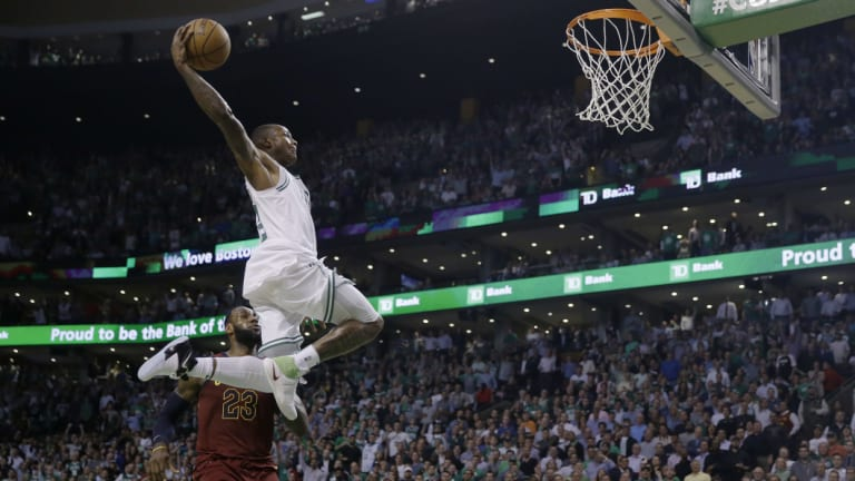 Boston's Terry Rozier soars toward the basket.