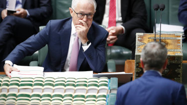 Prime Minister Malcolm Turnbull and Opposition Leader Bill Shorten in Parliament.