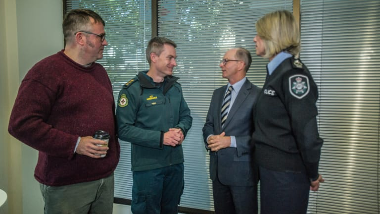 STA SAFE representative Dr David Caldicott, ACT Ambulance officer Toby Keene, ACT Chief Health Officer Dr Paul Kelly and Chief Police Officer for the ACT Assistant Commissioner Justine Saunders.