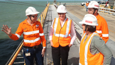 Annastacia Palaszczuk at Hay Point terminal in Queensland on Wednesday.