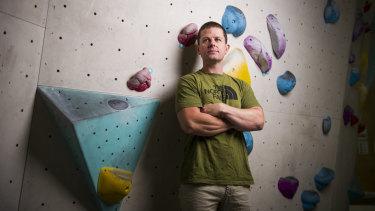 Duncan Brown at the Blochaus climbing gym.