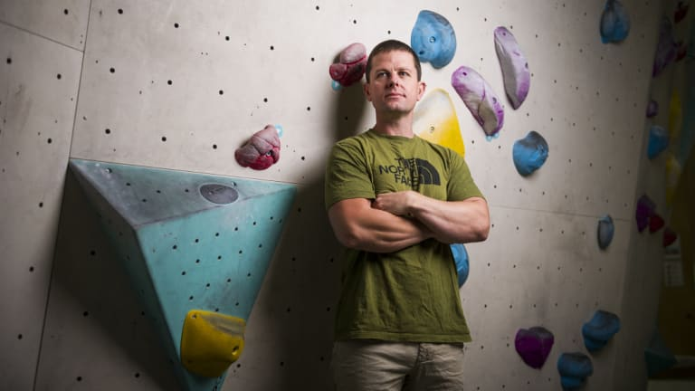 Duncan Brown at the Blochaus climbing gym.
