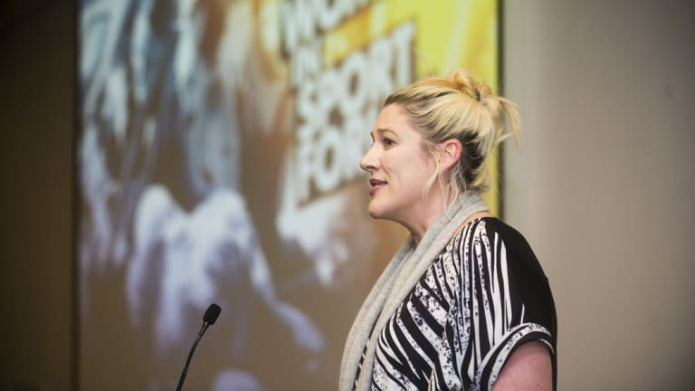 Lauren Jackson speaking at the Driving Gender Equity conference she helped organise in Canberra.