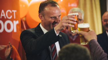 Andrew Barr claims victory after the 2016 election, Labor's fifth consecutive win.