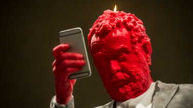 Francesco, the four-metre high wax sculpture at the National Gallery of Australia.