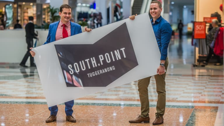 Centre manager Jeremy Wilson and marketing manager Adam Gill with the new South.Port sign at the former Hyperdome.